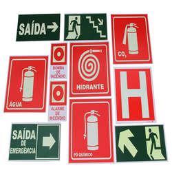 Placas de sinalização bombeiros